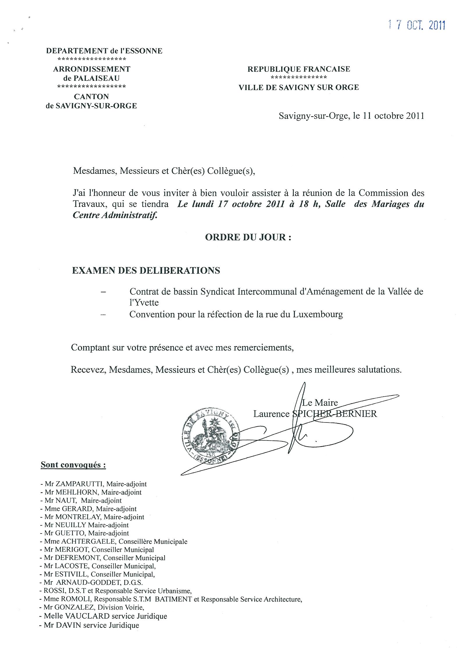Savigny sur orge d lai de convocation la commission for Piscine de savigny sur orge