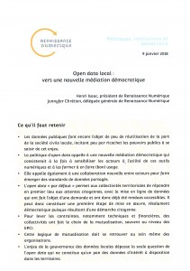 « Open Data local. Vers une nouvelle médiation démocratique » de Henri ISAAC et Jennifer CHRÉTIEN, Renaissance numérique, 9 janvier 2018, p. 1.